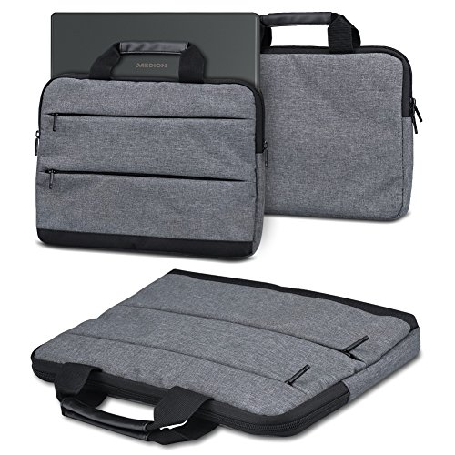 NAUC Sleeve Hülle kompatibel für Medion Akoya E4272 Convertible Tasche Schutzhülle Laptop mit Innentaschen praktische Tragegriffe, Farbe:Dunkelgrau