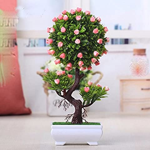 Hctina Artificial flower Plants Potted Plastic Orange