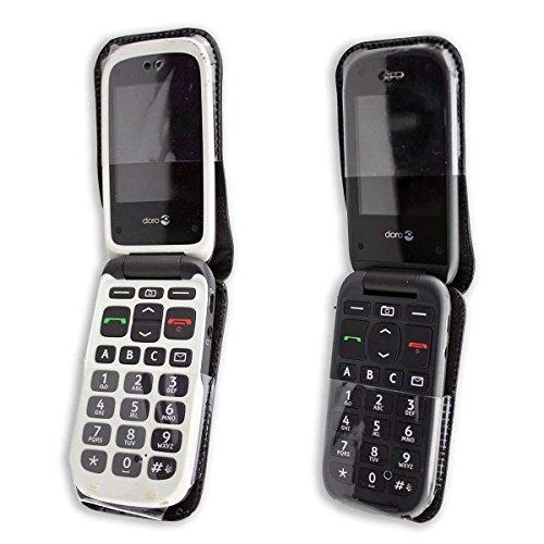 caseroxx Handy-Tasche Ledertasche mit Gürtelclip für Doro PhoneEasy 612/613 aus Echtleder, Handyhülle für Gürtel (mit Sichtfenster aus schmutzabweisender Klarsichtfolie in schwarz)