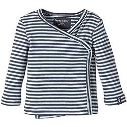 Lana natural wear Unisex - Baby T-Shirt Wickelshirt Finn, Gestreift, Gr. 74/80, Mehrfarbig (Blue Air/Ombre Blue 1231)
