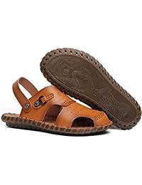 3652545e70752 ZJM-Sandalo estivi da uomo Sandalo da spiaggia Calzature chiuse Realizzate  morbide scarpe da pescatore antiscivolo in vera pelle (Colore…