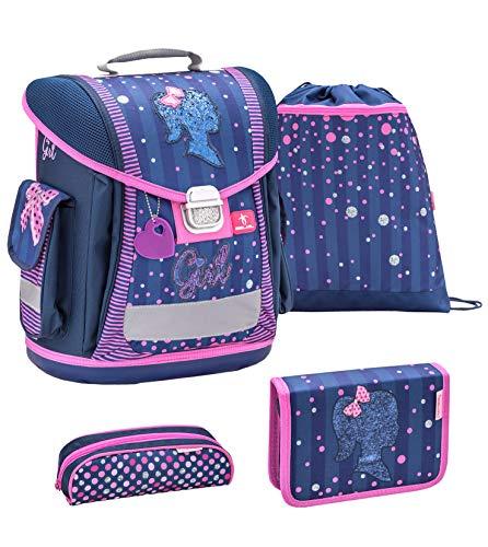 Belmil ergonomischer Schulranzen Groß Set 4-teilig für Mädchen 1, 2, 3, Klasse/Leicht: 950-1000 g/blau-pink, Blue-pink Mädchen Girl (404-5 Girl)