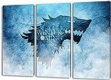 Game of Thrones 3teilig im Gesamtmaß 120x80 cm, Leinwandbild auf Holzrahmen gespannt, Leinwandbild, 1A Qualität zu 100% Made in Germany! Kein Poster Kein Plakat! Echtholzrahmen mit beigelieferten Zackenaufhängern. Fertig bespannt, Sofort dekorieren.
