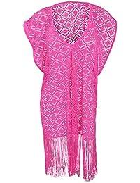Universal Textiles Womens/Ladies Crochet Kaftan Cover Up Beach Dress With Fringed Hem