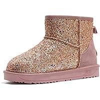 Zapatos Invierno Mujer Botas De Nieve,Moda Rosa Silvestre Sequin Cold Protection Tubo Corto Invierno Cálido Suave Tubo Medio Cómodo Algodón Amortiguación Botas Mujeres Antideslizante Exterior 35