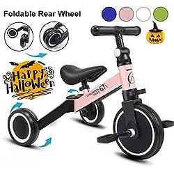 KORIMEFA 3 en 1 Vélo Draisienne Tricycle Évolutif pour Enfants 1-3 Ans Premier Vélo pour Bébés Filles Garçons Selle et Guidon Réglable (Rose)