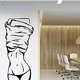 TYLPK Chica sexy etiqueta de la pared tienda de ropa de vinilo decoración de la pared salón de belleza dormitorio habitación art deco etiqueta de la pared negro 30x64 cm