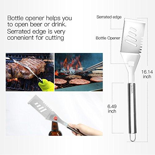 51QsbiFRoXL - Grillbesteck Set, Edelstahl mit Tragetasche, BBQ Grill-Utensilien Besteck Zubehör fürs Grillen
