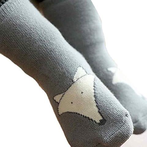 Baby Floor Socks, Transer® Baby Anti-slip Floor Socks Kids Cotton Soft Warm Non Slip Socks with Fox Printed Long Socks for 2 years Child (S, Grey)