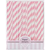 Pink Paper Party Straws