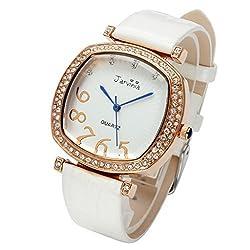 JSDDE Women Luxury Water Resistant Leather Bracelet Watch with Rose Gold Rhinestone Square Case Japanese Quartz-White