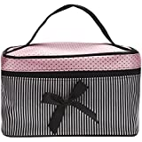 Ularma Sac à cosmétiques Bow Stripe Portable Voyage Trousses de toilette Maquillage Organisateur ...