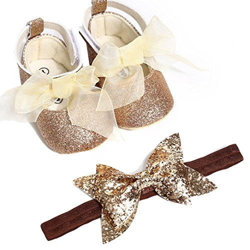 Huhu833 Babyschuhe, 2 Pcs Baby Mädchen Schuh Anti-Rutsch-weiche Sohle Kleinkind Schuhe+ Stirnband (0~6 Month, Gold)