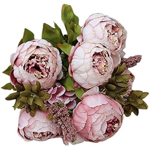 Fulltime® 1 Bouquet 8 teste peonia artificiale decorazione fiore di seta Foglia casa festa di nozze (Cachi)