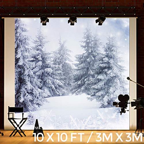 fotostudio hintergrundstoff KING DO WAY Fotostudio Hintergrundstoff Schnee, Weihnachtsfotohintergrund aus Stoff und Vinyl, Baum, weiße Schneekulisse, Nutzung als Kulisse, Requisite, Studiorequisite, 3 m x 3 m