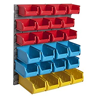 WOLTU 24 Piezas Estantería de Bricolaje para Pared Estante con Clasificador Apilable Plástico para Taller Garaje 45 x 54 cm FZ1133