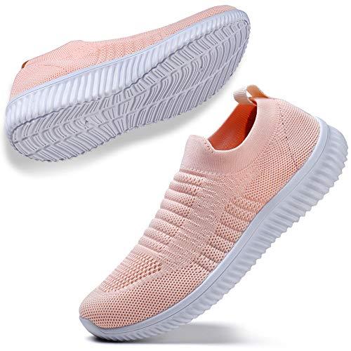 STQ Wanderschuhe für Damen Sportlich Freizeit Tennis Sneaker Turnschuhe Fashion Atmungsaktiv Leichtgewichtig Sportshuhe(Alles Pink 38) (Frauen Für Krankenschwester-tennis-schuhe)