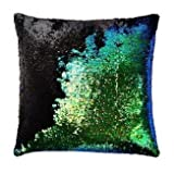 #9: Casemantra Stylish Sequin Mermaid Throw Pillow Cover with Magical Color Changing Reversible Paulette Design Decor Cushion Pillowcase Set of 1 (16X16 inch ) - Black & Green
