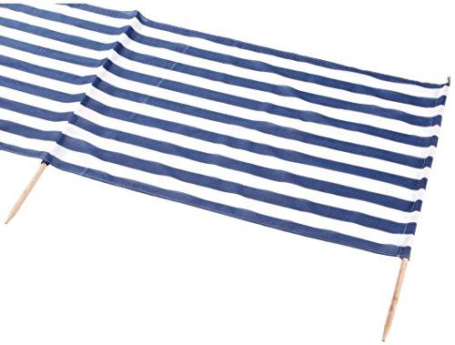 Idena Baumwoll Windschutz Incl. 5 Holzstäbe, 5 m x 0,80 m (Ohne Hammer, Blau/Weiß)