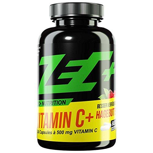 ZEC+ Vitamin C hochdosiert - 240 Vitamin C Kapseln je 500 mg Vitamin C Ascorbinsäure und 25 mg Hagebutten-Extrakt, gegen oxidativen Stress, normale Funktion des Energiestoffwechsel und Immunsystem -