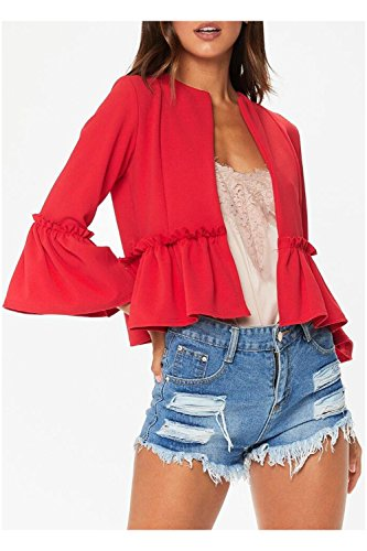 Issza Damen Casual Rüschen 3/4 Arm Blazer Elegante Kurz Jacke Outerwear  Strickjacken Rot
