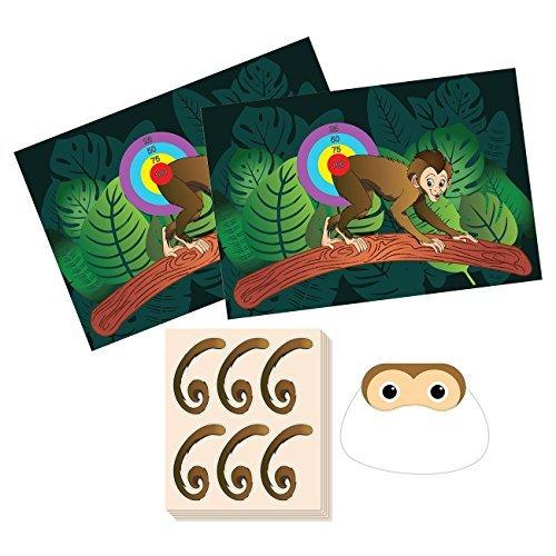 Pin The Tail on the Monkey Geburtstagsspiel - Dschungel-Themen-Partyzubehör, Zoo-Party-Gastgeschenke, Spaß für alle Altersgruppen, 2 Spielposter, 1 Augenbindemaske, 5 Bögen, 30 Aufkleber für Schwanz.