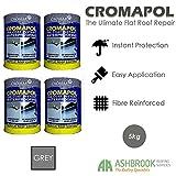 Cromapol   Acrylic Roof Coat   Fibre Reinforced   Roof Paint   Roof Sealant   Grey   4 x 5kg