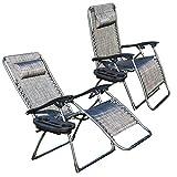 EiioX Liegestuhl Klappbar 2er Set bis 180 kg Belastbar, mit Becherhalter Kopfkissen, Gartenliege Camping, Sonnenliege Klappbar Strand, grau