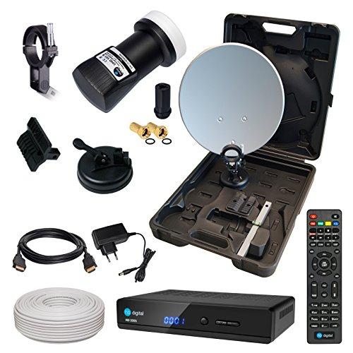 HD Camping Sat Anlage im Koffer von HB-DIGITAL:  Mini Sat Schüssel 40cm Anthrazit ➕ HD 350S Receiver ➕ UHD Single LNB 0,1 dB ➕ 10m SAT-Kabel inkl. F-Stecker  Full HD fähig