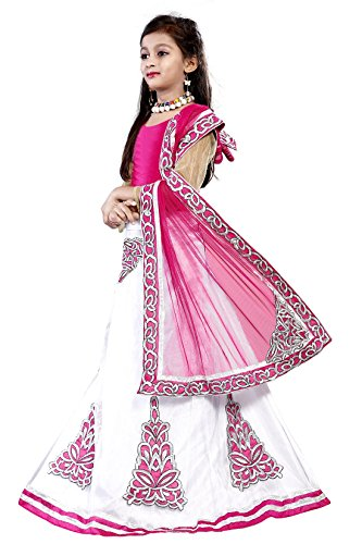 Girl'S Pink&White Benglori silk-Net Semi-Stitched Lehengha Choli,Salwar Suit.Dresss(Kid'S Wear 7-13 Year Age...