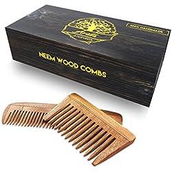 Peines Arista de madera neem hechos a mano en la India, peine para el pelo y barba, benefíciese de las propiedades medicinales de la madera neem, reconocida por la medicina Ayurveda (paquete de dos).