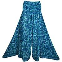 Mogul Interior Brooke Women Wide Leg Skirt High Waist Pant Gypsy Boho Chic Flare Maxi Skirts M