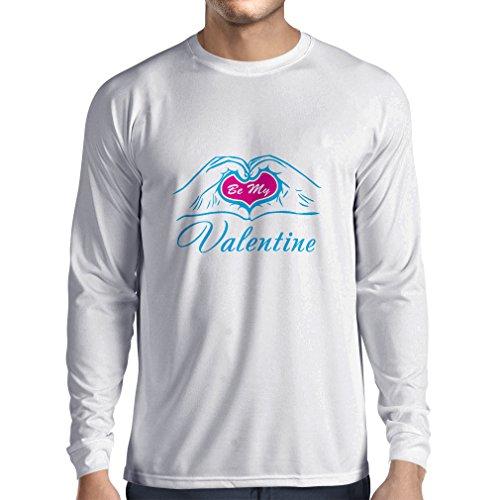 N4153L Camiseta de manga larga Be my Valentine love , great St. Valentine gift (XXX-Large Blanco Blue)
