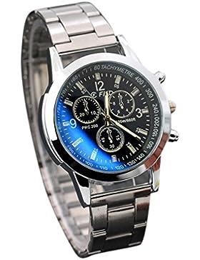 BeautyTop Herren Art und Weise Edelstahl-Sport-Quarz-Stunden-analoge Armbanduhr (Schwarz)