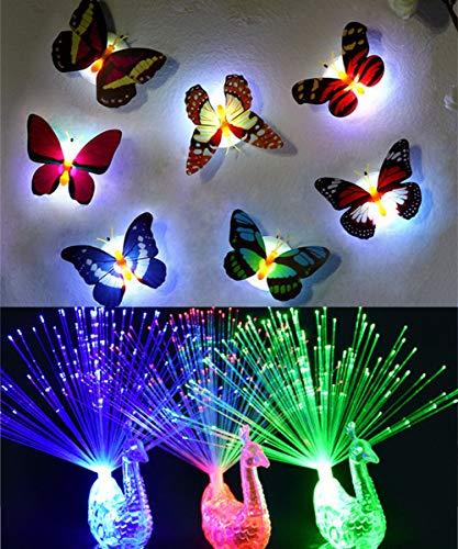 Danolt 12 Pcs Luces de Fiesta Led - 6 LED Parpadea Mariposa Noche luz Luces Decorativas, 6 LED Luces de Dedos de Fibra óptica para niños, 3D Pegatinas Casa Decor Juguete de lámpara led Colorida