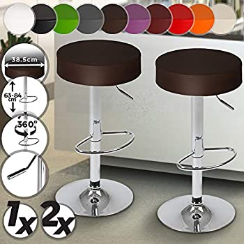 Colour:Brown Size:1pcs-Set Adjustable Swivel Breakfast Bar Stools Seat for Kitchen Dining Set of 2 63-83mm