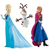 Official Disney's Frozen Set of 3 Figures, Anna, Elsa and Olaf by Disneys Frozen