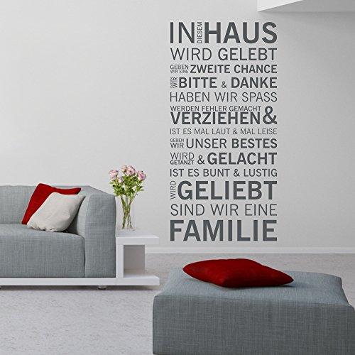 eDesign24 Wandtattoo Familienspruch In diesem Haus wird gelebt Wandspruch Wanddekoration Tattoo Spruch Dekoration ca. 69 x 140 cm anthrazit