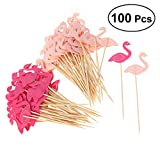 100 Pcs Flamingo Cupcake Toppers Birthday Party Cake Picks Food Decoration Supplies for Cocktail Birthday Party