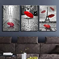 wymhzp 3 Pieces Canvas Paintings Wall Art Prints Home Decor Living Room Poster Black White Eiffel Tower With Red Umbrella Pictures