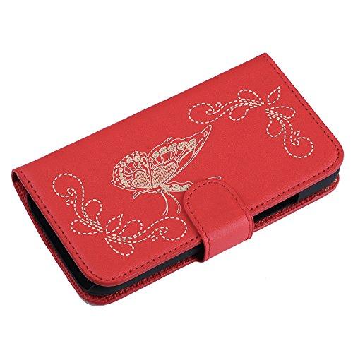 Voguecase® für Apple iphone 5 5G 5S hülle,(Wasserzeichen/Beige) Kunstleder Tasche PU Schutzhülle Tasche Leder Brieftasche Hülle Case Cover + Gratis Universal Eingabestift Laser geschnitzt Schmetterling/Rot