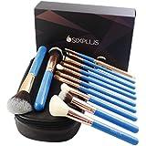 SIXPLUS 12-teiliges Make-up Pinselset in Blau mit einem multifunktionalen Make-up Etui
