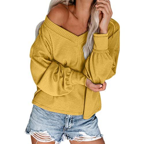MOTOCO One Off The Shoulder Sweater für Frauen Sexy V-Ausschnitt Sweatshirt Damen Übergroße Pullove Lose Strickoberteile(2XL,Gelb)