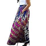 Robes pour Femmes, Willsa Mode Loisirs Fleur Africaine Impression Maxi Jupe Taille Haute Une Ligne Longue Jupe Swing
