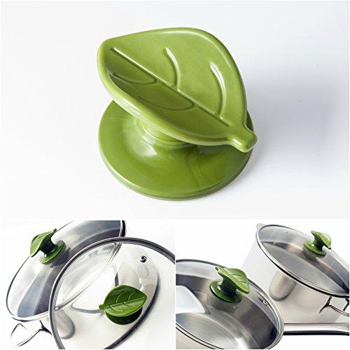 wiizez Universal Crockpot Kochgeschirr Deckel Knob Griff Ersatz | mit praktischem Löffel Rest und Schutz Hand Grip | (2er Pack) grün (Für Den Griff Pot Deckel Den Für Crock)