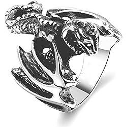 HFJ&YIE&H Individuo único anillo no de los hombres de piedra decorativa de acero inoxidable barniz de secado al horno de los dinosaurios (negro) (1 . 9