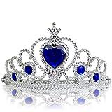 Katara - Diadème argenté avec diamants en bleu foncé - 3-11 ans