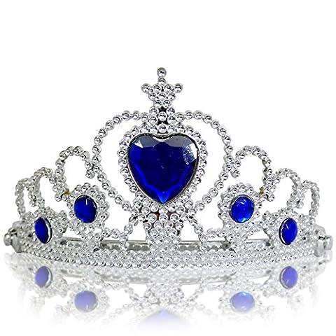 Katara - Diadème de princesse pour filles/ couronne argentée avec diamants en bleu foncé/ accessoire de déguisement - tiare costume de reine pour filles/ 3-11