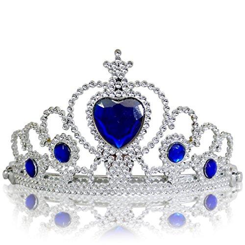 Katara 1682 - Prinzessin Diadem Krone, Verkleidung Kostüm, Fasching Karneval, Haarspange, Silber/Dunkelblau