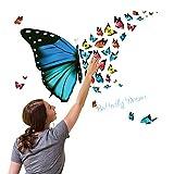 Auwer 3D Pink Schmetterling Wandaufkleber Dekor Kunst Dekorationen Abnehmbare Aufkleber Kunst Wohnzimmer Dekor Kinderzimmer Deko Badezimmer Dekor Büro Dekor About 30 * 60CM Mehrfarbig